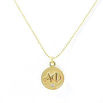 "Alpha Phi Lavalier Necklace - Gold - ""The Danielle"""