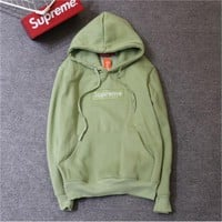 Supreme tide card plus cashmere classic BOX embroidery matcha green thin sweater coat men's hooded sweater ladies hoodie