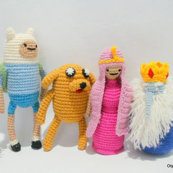 Play set toys crochet Adventure Time Gifts Valentine's Day Baby Gifts New Year Dolls crocheted Handmade toys girl pink dress dog Jake Finn