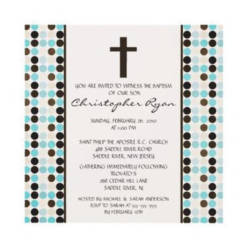 Trendy Fun DOTS Baby Boy Baptism Inviation Personalized Announcement from Zazzle.com