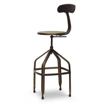 Baxton Studio Architect's Industrial Bar Stool with Backrest in Antiqued Copper Set of 1