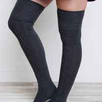 Miss You Thigh High Socks - Charcoal