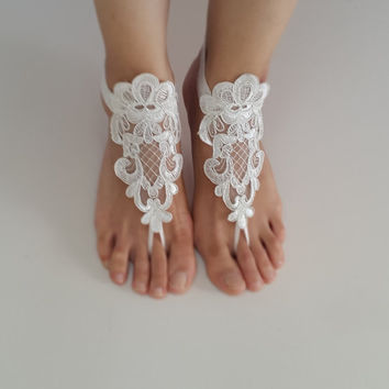 ivory lace wedding sandals, free shipping!