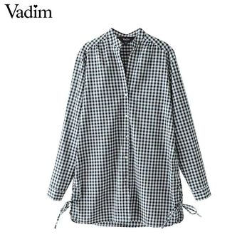 Women side lace up V neck loose plaid shirts long sleeve white long blouse ladies office wear casual tops