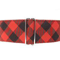 Buffalo Plaid Martingale Collar, Lumberjack Martingale, Buffalo Plaid Dog Collar, Red and Black Martingale Collar, Red and Black Dog Collar