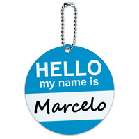 Marcelo Hello My Name Is Round ID Card Luggage Tag
