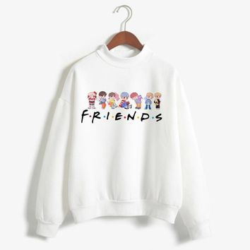 KPOP BTS Bangtan Boys Army Korea Style  Women Hoodies FRIENDS  Letter Printed Sweatshirt Thicken Harajuku Long Sleeve Pullovers Sudaderas Mujer 2018 AT_89_10