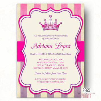 Quinceanera Invitation Printable // Quinceanera Invites // Hot Pink Quinceanera Invitation // Turquoise Quinceanera Invitation // Princess