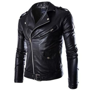 New Motorcycle Jackets Men Vintage Retro PU Leather Jacket Racing Biker Punk Classical Motocross Windproof Moto Jacket