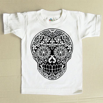 Cool Skull kids shirt. Black Day of the Dead tshirt. Sugar skull Toddler Clothes. Trendy 2T 3T White Cotton tee shirt Mendhi tattoo top