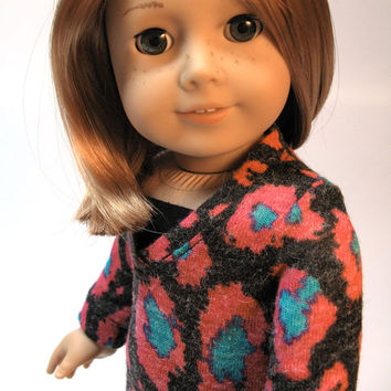 """Pink and teal printed sweater knit tunic with jeggings and black boots for American Girl and other 18"""" Dolls"""