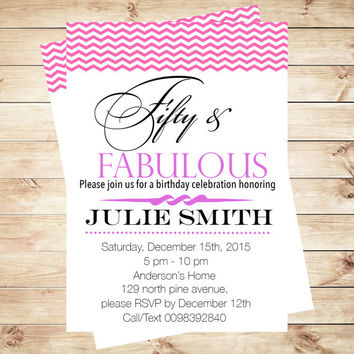 Fifty and Fabulous invitation, fifty and fabulous, surprise invitation, 50th Birthday, birthday for woman, Art Party Invitation