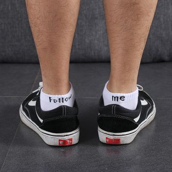"SOCKS 1 Pair Men ""Follow Me"" Socks High Quality Cotton Boat Towel Bottom Short Tube Concise Socks Winter Autumn Warm"