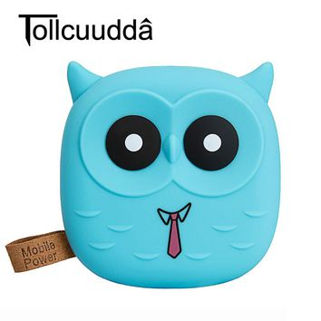 Tollcuudda 18650 PowerBank Cute Cartoon Owl 5000mAh Power Bank Portable Charger External Battery Pack For Iphone 6s Mobile phone