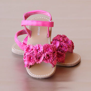 L'Amour Girls Rosette Applique Sandal