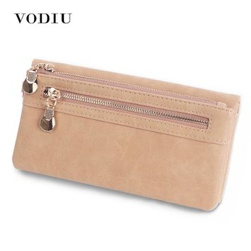 Scrub Leather 2017 Women Wallet Double Zipper Female Clutch Purse Wristlet Coin Credit Card Holder Handbags Trifold Slim Cuzdan