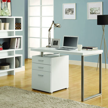 "White Hollow-Core Left Or Right Facing 48""L Desk"