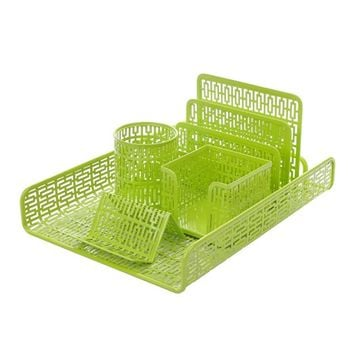 Crystallove Set of 5 Metal Mesh Office Desk Accessories Organizer, Green-Style 1