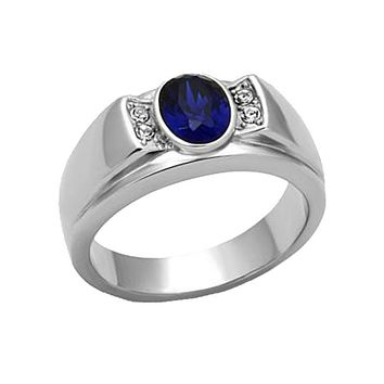 Big Blue - Stainless Steel and Synthetic Glass Ring