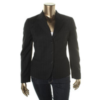 Lauren Ralph Lauren Womens Wool Pinstripe Three-Button Blazer