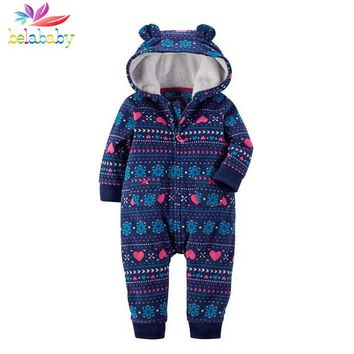 Belababy 2017 NEW Baby Rompers Winter Thick Warm Baby boy Clothing Long Sleeve Hooded Jumpsuit Kids Newborn Outwear for 6-24M