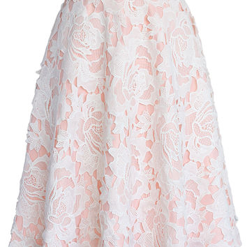 My Dear Roses Lace A-line Midi Skirt in Pink Pink