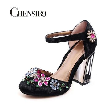 Fashion Online Chensir9 Woman Velvet With Rhinestone High Heels Shoes Wedding Shoes Party Shoes For Women Mary Jane Shoes Plus Size 33-46