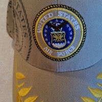 US Air Force emblem & shadow on a Tan ball cap with free shipping