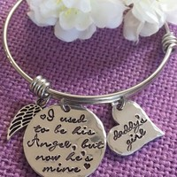 Memorial Jewelry Bracelet - Memorial Jewelry Dad - I used to be his angel now he's Daddys girl - Memorial gift - Remembrance Bracelet