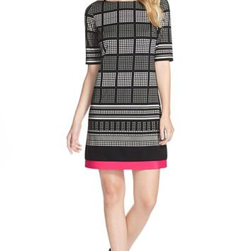 Women's Eliza J Print Ponte A-Line Dress,