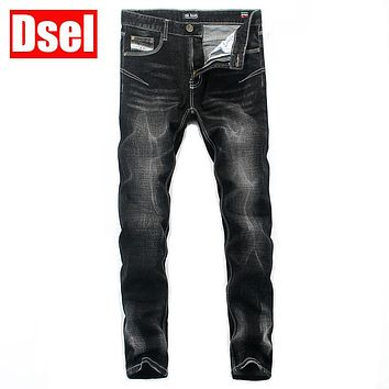 DSEL brand Free shipping 2016 fashion cotton straight jeans casual style of men's jeans good quality new arrival long slim pants