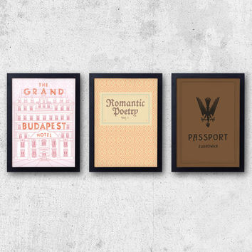 Grand Budapest Hotel Set - 3 prints inspired by fictional books! The Grand Budapest Hotel, Romantic Poetry, Zubrowka Passport