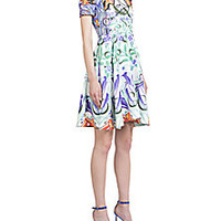 Mary Katrantzou - Wallpaper-Print Flare Dress - Saks Fifth Avenue Mobile