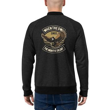 Vintage Retro Streetwear Bomber Jackets for Men When The Owl Sings The Night Is Silent