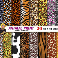 Animal Print digital paper, leopard zebra giraffe safari patterns, animal skin, Scrapbooking Paper, Digital paper patterns, backgrounds