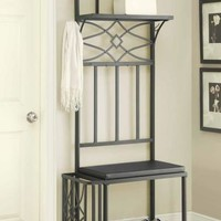 Black finish metal frame hall tree boot bench and umbrella stand with padded seat