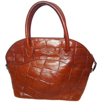 Vintage Mulberry croc embossed brown leather tote bag in bolide bag style.  Masterpiece back in 2a814d50845d3