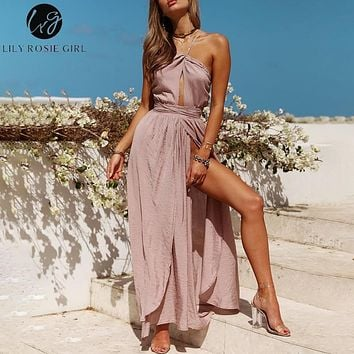 a817a74cb0 Lily Rosie Girl Sleeveless Halter Sexy Maxi Dresses 2019 Summer