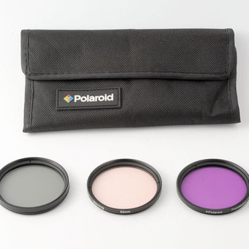 Set of 3 Polaroid 52mm Filters Circular Polarizer, Warming and Fluorescent with Storage Pouch