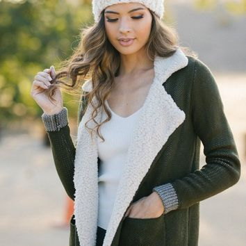 Clarisse Olive Faux Shearling Jacket