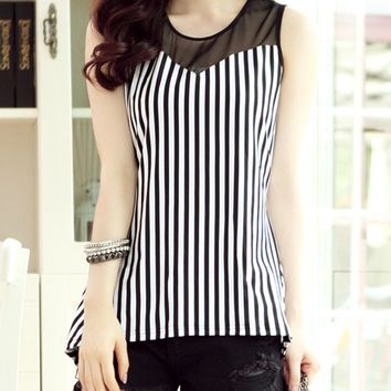 Streetstyle  Casual Patchwork Hollow Out Vertical Striped Sleeveless T-Shirt