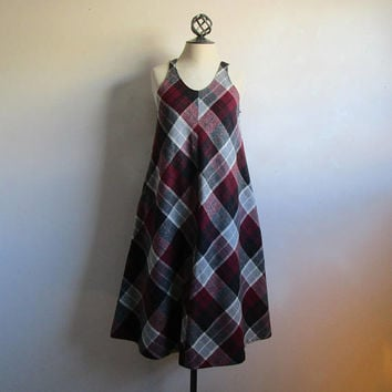 Vintage 70s Plaid Pinafore Burgundy Gray Country Wool Blend Grunge Jumper 1970s Dress Med-Lrg