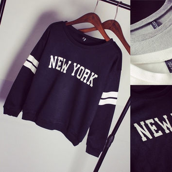 Lady Style NEW YORK Printed T-shirts , Women's  Loose  Sweater,Kint Cotton Outerwear (Free size) = 1919948676