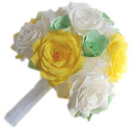 Mint green, yellow and white handmade paper flower bridal party bouquets, Custom color coffee filter paper flower bouquets for weddings