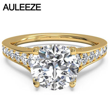 Delicate Tulip Setting 1.5CT Moissanites Ring Lab Grown Diamond 14K 585 Yellow Gold Engagement Rings For Women Wedding Jewelry