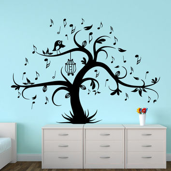 Wall Decal Tree Silhouette With Birdcage Bird Music Notes Wall Decals For Kids Playroom Nursery Bedroom Children Baby Room Home Decor MR725
