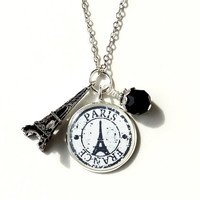 Paris Charm Necklace, Eiffel Tower and Black & White Vintage Style Paris France Stamp Charm, Paris Jewelry, Charm Jewelry, Resin Jewelry