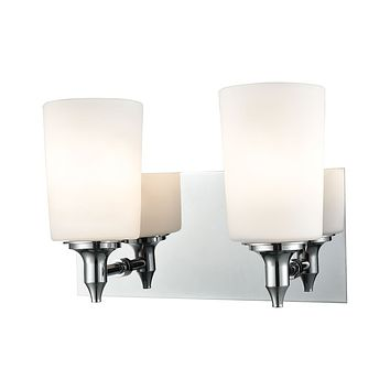Alton Road 2-Light Vanity Lamp in Chrome with Opal Glass