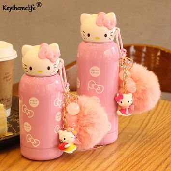 Keythemelife Kids Water Bottles Hello Kitty kettle Mini Stainless Steel Children school Insulation kettle Drinkware Gift D0