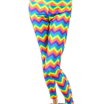 Rainbow Chevron Print Spandex Leggings -E6826